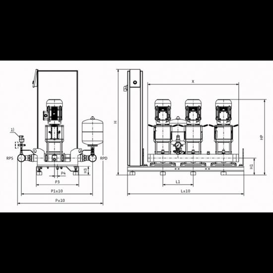 Wilo Smart 3 HELIX V 1003 - насосная станция для водоснабжения и повышения давления воды (арт. 2787406)