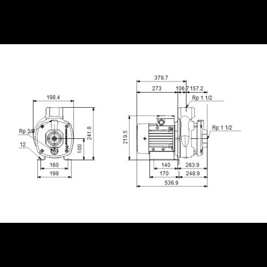 Grundfos CM10-4 A-R-A-V-AQQV (арт. 96943374) – горизонтальный многоступенчатый насос