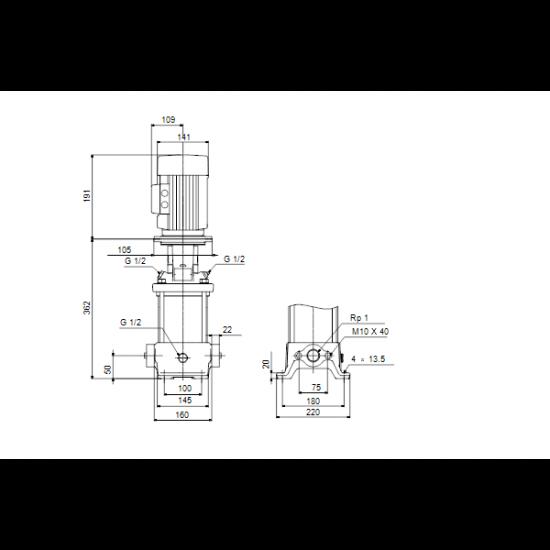 Grundfos CR 1-9 A-A-A-V-HQQV (арт. 96516205) – вертикальный многоступенчатый центробежный насос
