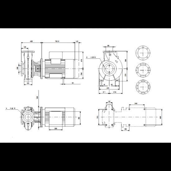 Grundfos NBG 100-65-315/295 AE2ABQQE (арт. 96770689) – консольно-моноблочный одноступенчатый насос