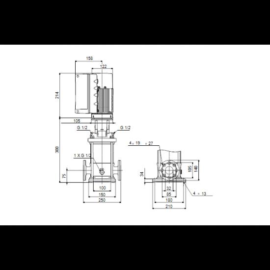 Grundfos CRNE 3-4 A-FGJ-A-E-HQQE (арт. 98389845) – вертикальный многоступенчатый центробежный насос
