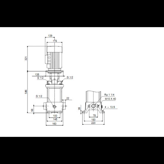 Grundfos CR 5-12 A-A-A-V-HQQV (арт. 96556596) – вертикальный многоступенчатый центробежный насос