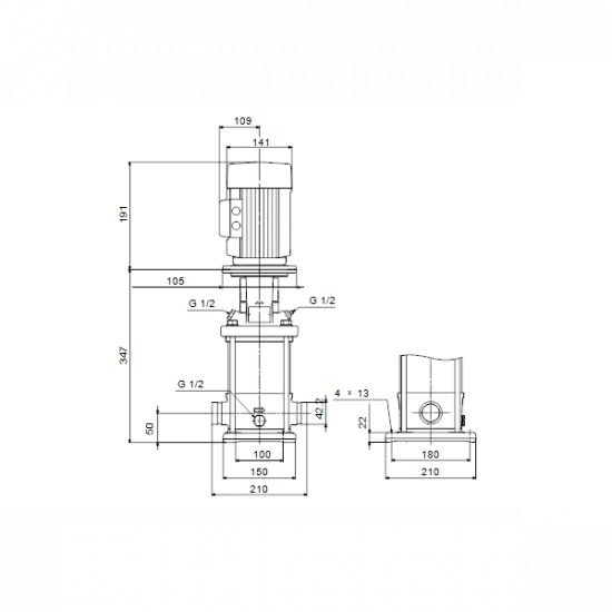 Grundfos CRN 1-8 A-P-A-E-HQQE (арт. 96516486) – вертикальный многоступенчатый центробежный насос