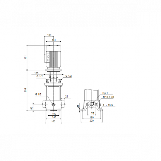 Grundfos CR 1S-2 A-A-A-E-HQQE (арт. 96515537) – вертикальный многоступенчатый центробежный насос
