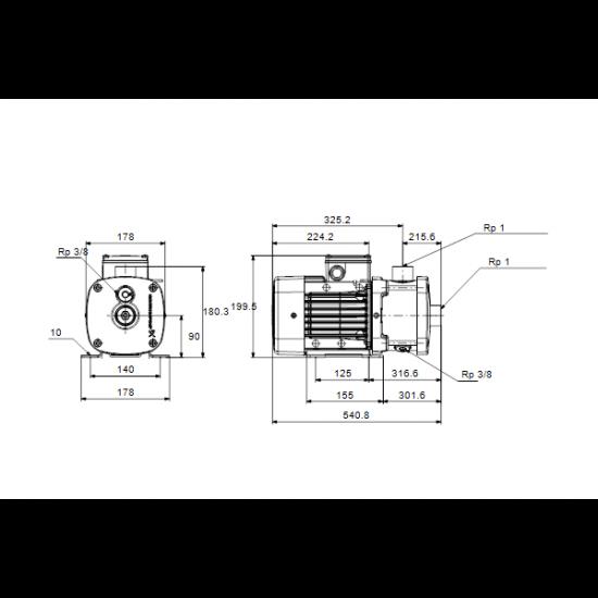 Grundfos CM3-11 A-R-G-E-AQQE (арт. 96935448) – горизонтальный многоступенчатый насос