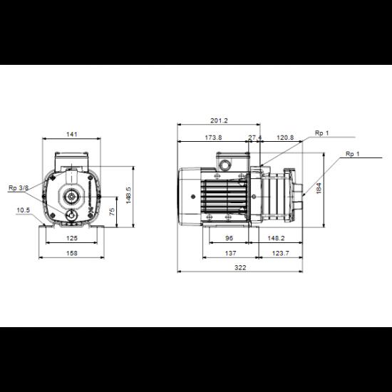 Grundfos CM3-4 A-R-A-V-AVBV (арт. 97516524) – горизонтальный многоступенчатый насос