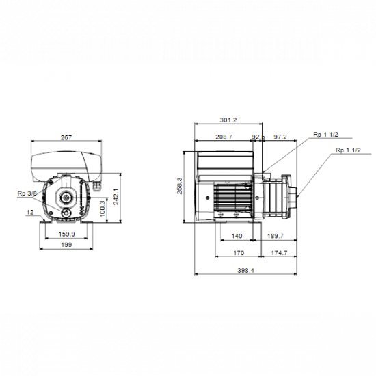 Grundfos CME10-2 A-R-A-E-AQQE (арт. 98396235) – горизонтальный многоступенчатый насос