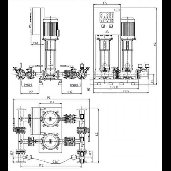 Wilo CO-2 HELIX V 3603/2/SK-FFS-S-EB-R (арт. 2453083) – насосная станция для пожаротушения