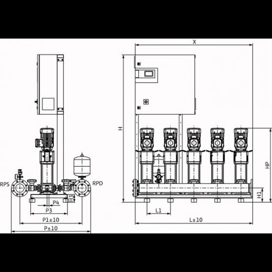 Wilo CO-5 HELIX V 1010/CC-EB-R - насосная станция для водоснабжения и повышения давления воды (арт. 2785587)