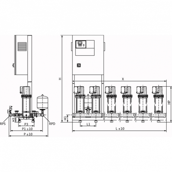 Wilo COR-2 MVIS 207/CC-EB-R - насосная станция для водоснабжения и повышения давления воды (арт. 2789411)