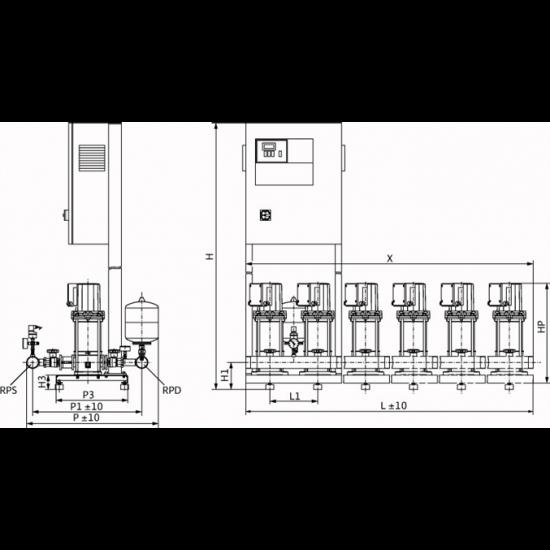 Wilo COR-3 MVIS 802/CC-EB-R - насосная станция для водоснабжения и повышения давления воды (арт. 2789501)