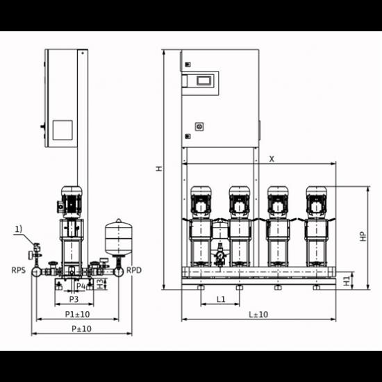 Wilo COR-4 HELIX V 603/CC-EB-R - насосная станция для водоснабжения и повышения давления воды (арт. 2785498)