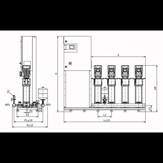 Wilo COR-4 HELIX V 611/CC-EB-R - насосная станция для водоснабжения и повышения давления воды (арт. 2785506)