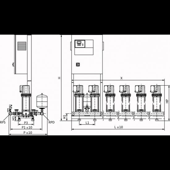 Wilo COR-4 MVIS 210/CC-EB-R - насосная станция для водоснабжения и повышения давления воды (арт. 2789432)