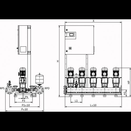 Wilo COR-5 HELIX V 1003/CC-EB-R - насосная станция для водоснабжения и повышения давления воды (арт. 2785645)