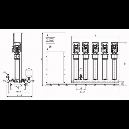 Wilo COR-5 HELIX V 614/SKw-EB-R (арт. 2785771) – насосная станция для водоснабжения и повышения давления воды