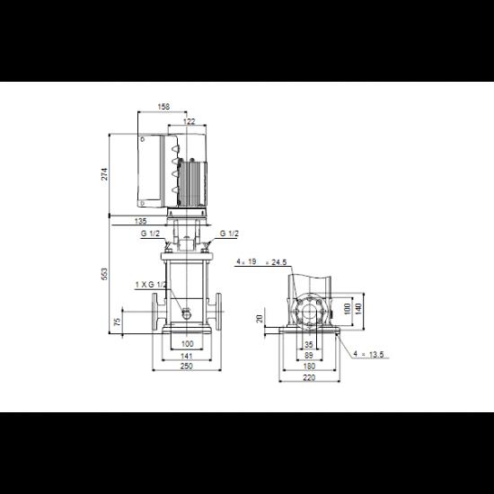 Grundfos CRE 1-17 N-FGJ-A-E-HQQE (арт. 98389340) – вертикальный многоступенчатый центробежный насос