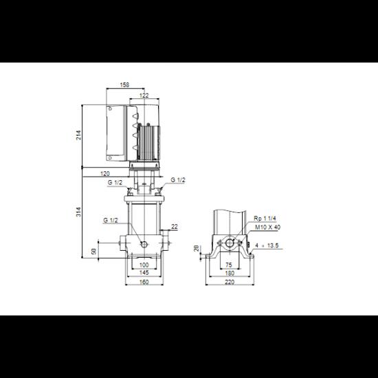 Grundfos CRE 5-4 A-A-A-E-HQQE (арт. 98390009) – вертикальный многоступенчатый центробежный насос
