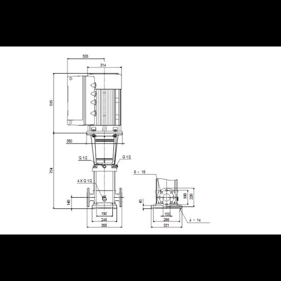 Grundfos CRE 64-2-1 A-F-A-E-HQQE (арт. 96123995) – вертикальный многоступенчатый центробежный насос