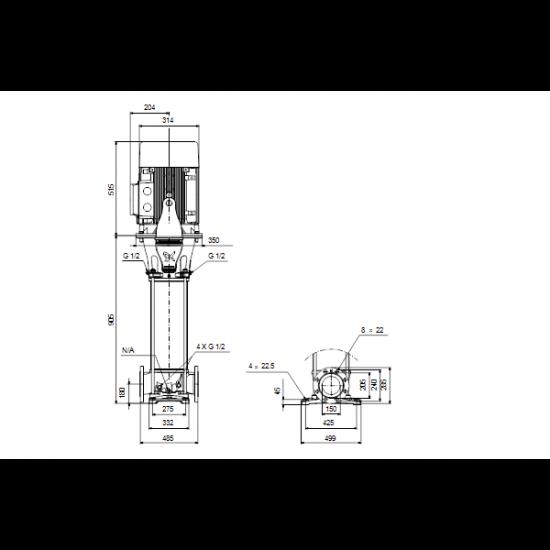 Grundfos CRN 125-2-1 A-F-A-E-HQQE (арт. 99142643) – вертикальный многоступенчатый центробежный насос
