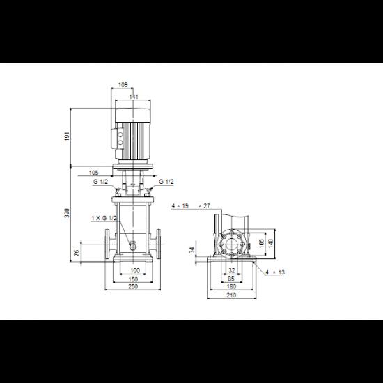 Grundfos CRN 1S-9 A-FGJ-A-V-HQQV (арт. 96515939) – вертикальный многоступенчатый центробежный насос