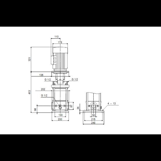 Grundfos CRN 20-2 A-CA-A-V-HQQV (арт. 96500663) – вертикальный многоступенчатый центробежный насос