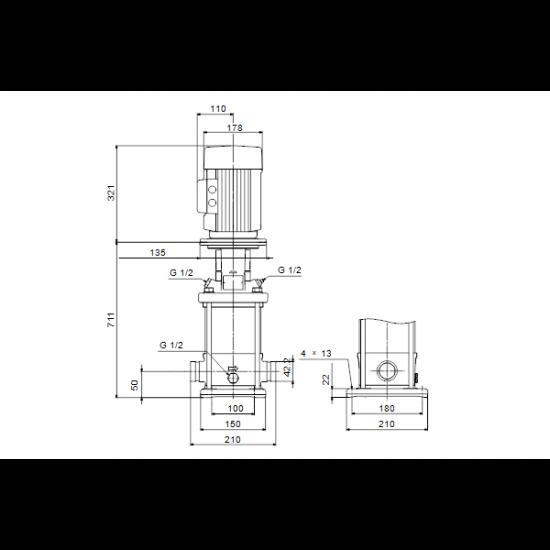 Grundfos CRN 3-27 A-P-A-E-HQQE (арт. 96513459) – вертикальный многоступенчатый центробежный насос