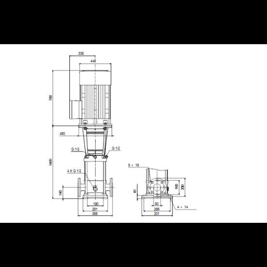 Grundfos CRN 45-11-2 A-F-A-V-HQQV (арт. 96123161) – вертикальный многоступенчатый центробежный насос
