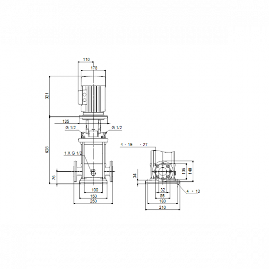 Grundfos CRN 5-14 A-FGJ-A-E-HQQE (арт. 96514201) – вертикальный многоступенчатый центробежный насос