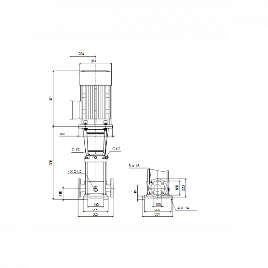 Grundfos CRN 64-3-2 A-F-A-V-HQQV (арт. 96123801) – вертикальный многоступенчатый центробежный насос