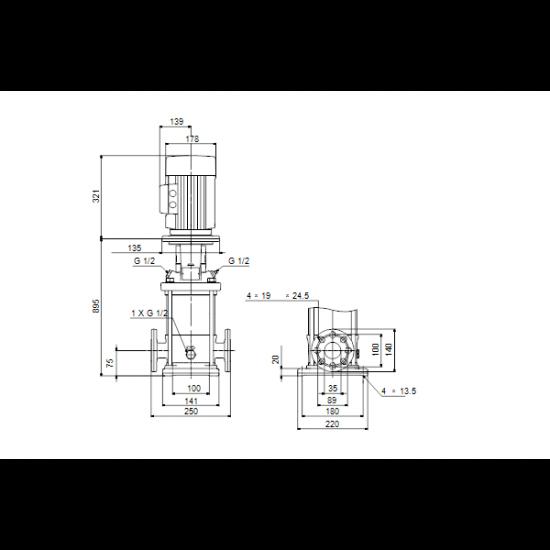 Grundfos CR 1-36 A-FGJ-A-E-HQQE (арт. 96533344) – вертикальный многоступенчатый центробежный насос
