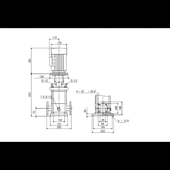 Grundfos CR 3-17 A-FGJ-A-V-HQQV (арт. 96516684) – вертикальный многоступенчатый центробежный насос