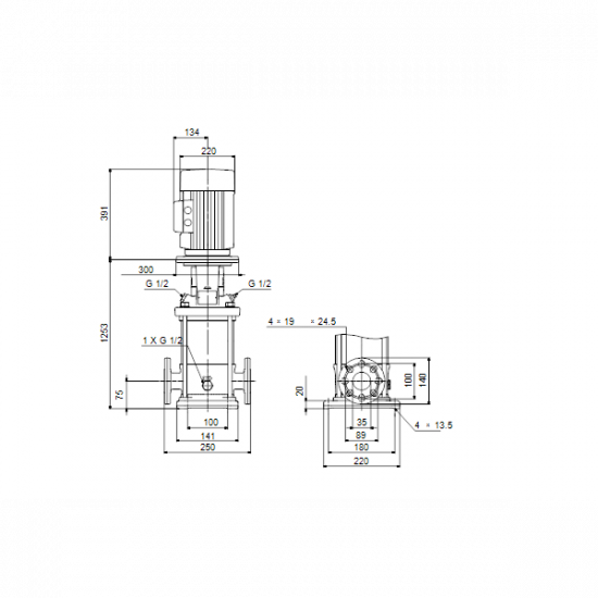 Grundfos CR 5-36 A-FGJ-A-E-HQQE (арт. 96513394) – вертикальный многоступенчатый центробежный насос