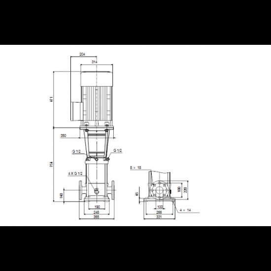 Grundfos CR 64-2 A-F-A-V-HQQV (арт. 96123552) – вертикальный многоступенчатый центробежный насос