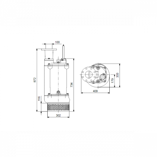 Grundfos DWK.O.13.100.55.5.0E (арт. 96922656) – дренажный погружной канализационный насос