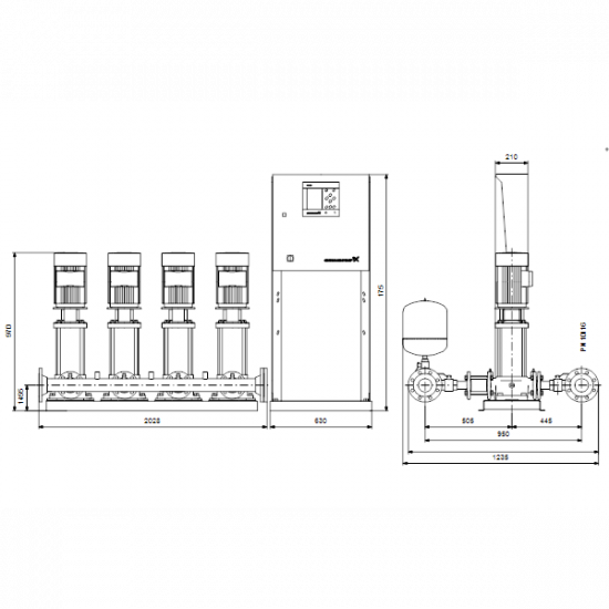 Grundfos HYDRO MPC-S 4 CR 32-2-2 (арт. 95044826) – насосная станция для водоснабжения и повышения давления