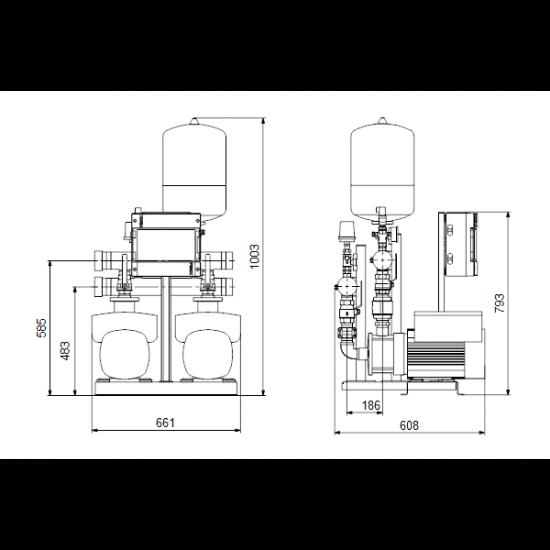 Grundfos HYDRO MULTI-E 2 CME10-4 (арт. 99133617) – насосная станция для водоснабжения и повышения давления