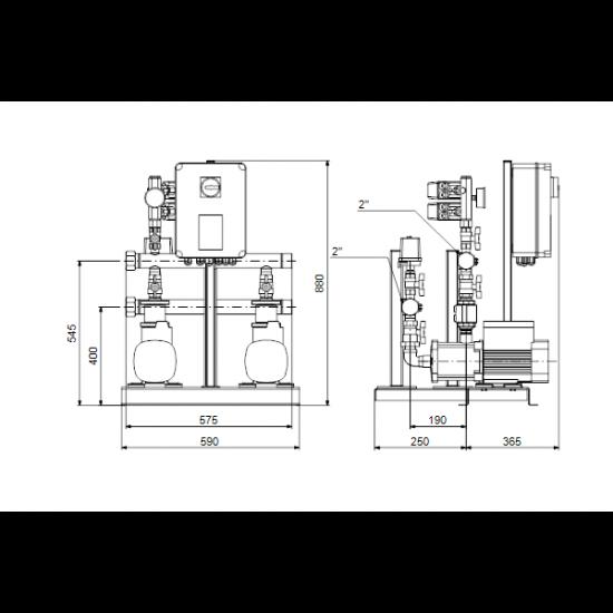 Grundfos HYDRO MULTI-S 2 CM5-7 (арт. 91047100) – насосная станция для водоснабжения и повышения давления
