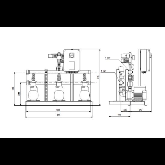 Grundfos HYDRO MULTI-S 3 CM3-8 (арт. 91047088) – насосная станция для водоснабжения и повышения давления