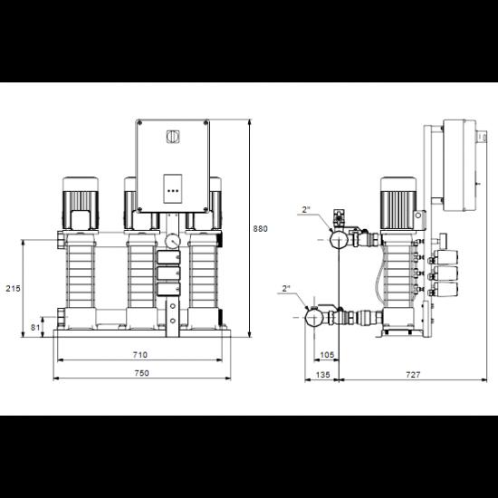 Grundfos HYDRO MULTI-S 3 CMV5-6 (арт. 97923536) – насосная станция для водоснабжения и повышения давления