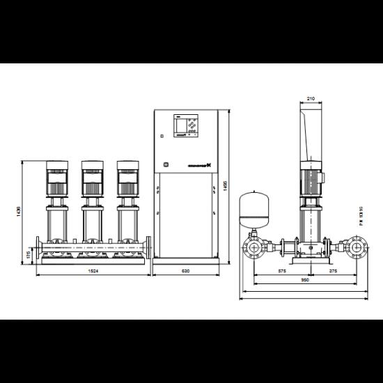 Grundfos Hydro MPC-E 3 CRE32-5-2 50/60Hz RUS (арт. 98439486) – насосная станция для водоснабжения и повышения давления