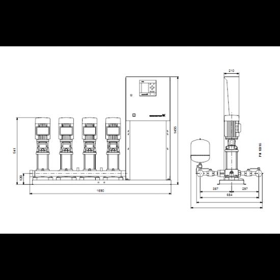 Grundfos Hydro MPC-E 4 CRE5-2 50/60Hz RUS (арт. 98423312) – насосная станция для водоснабжения и повышения давления