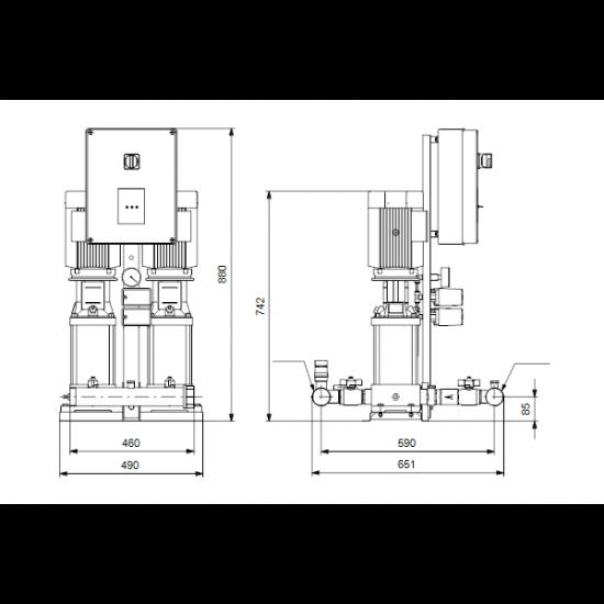 Grundfos Hydro Multi-S P 2CR3-15 3x400/50hz,PE (арт. 95922885) – насосная станция для водоснабжения и повышения давления