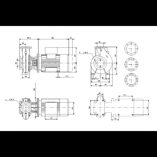 Grundfos NBG 80-50-250/205 AE2BBQQE (арт. 96770899) – консольно-моноблочный одноступенчатый насос
