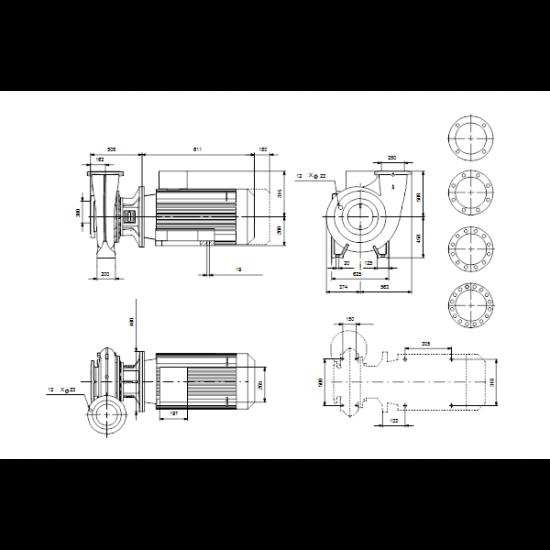 Grundfos NB 250-450/313 AF1ABQQE (арт. 98975525) – консольно-моноблочный одноступенчатый насос
