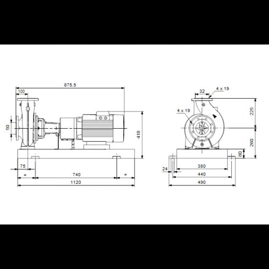 Grundfos NKE 32-250/236 A2-F-L-E-BQQE (арт. 98112087) – консольный насос с односторонним всасыванием