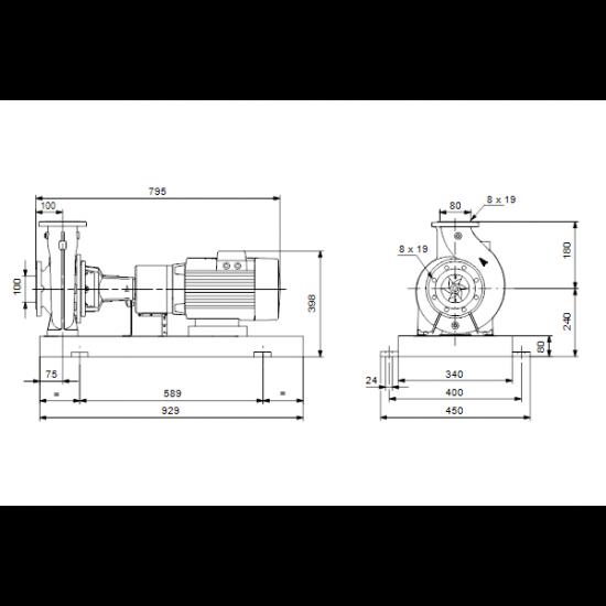 Grundfos NKGE 100-80-125/130 A1-F-A-E-BAQE (арт. 98111594) – консольный насос с односторонним всасыванием