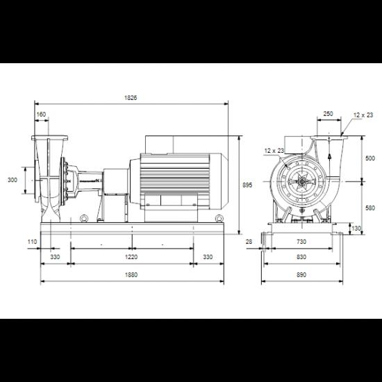 Grundfos NK 250-400/329 A2-F-A-E-BAQE (арт. 98318768) – консольный насос с односторонним всасыванием