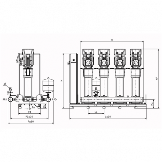 Wilo Smart 4 HELIX V 1010 - насосная станция для водоснабжения и повышения давления воды (арт. 2787494)