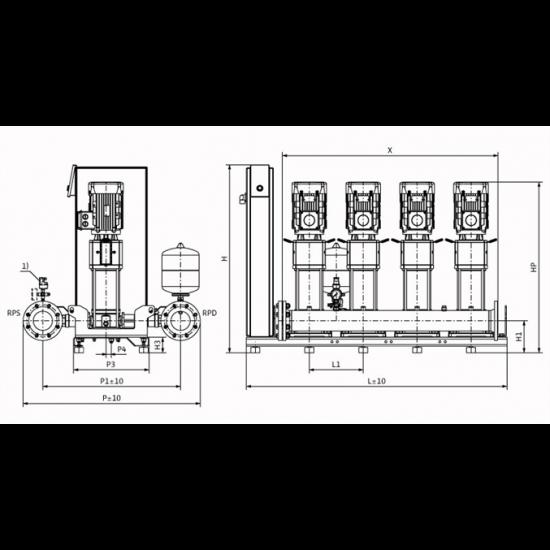 Wilo Smart 4 HELIX V 1604 - насосная станция для водоснабжения и повышения давления воды (арт. 2787502)